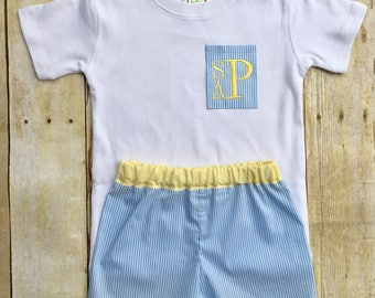 Boys blue striped shorts set with monogrammed picket shirt