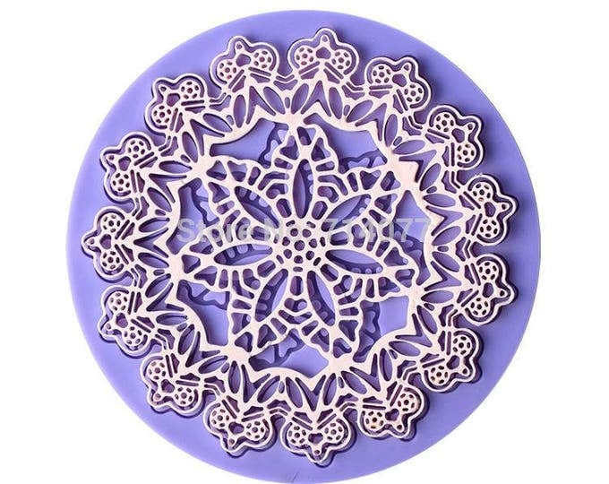 Round Crown Flower Silicone Mold - D-137 CT061 -  Baking Fondant Candy Royal Icing Circle Lace Mat