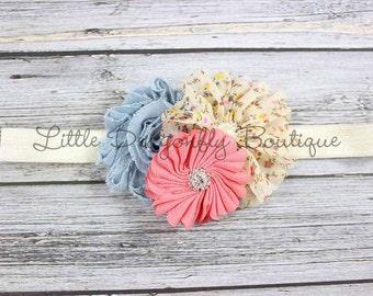 Cream floral & denim headband {denim headband, coral headband, vintage headband, floral headband, baby headband}