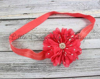 RTS Watermelon and silver headband {coral headband, baby headband}