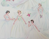 Vintage Gift Wrapping Paper - Wedding Day by Dennison - Blushing Brides - Wedding or Bridal Shower Wrap - 1 Unused Full Sheet Gift Wrap