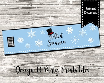 INSTANT DOWNLOAD Melted Snowman Water Bottle Label Blue Snowflake Printable Digital