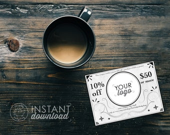 Vintage Style Printable Coupon, Personal Coupon, Coupon Template, Coupon Code, Editable Coupon, Etsy Shop Discount, PSD Template Illustrator