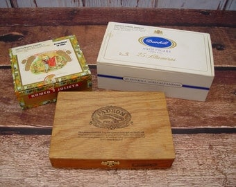 Vintage Wooden Cigar Boxes, Romeo Julieta, Dunhill, Padron, Set of 3