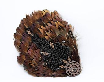 STEAMPUNK FEATHER FASCINATOR, Steampunk, Hair Clip, Steampunk Fascinator , Cog Hair Clip, Feather Hair Clip, Clock Arm Hair Clip, Black