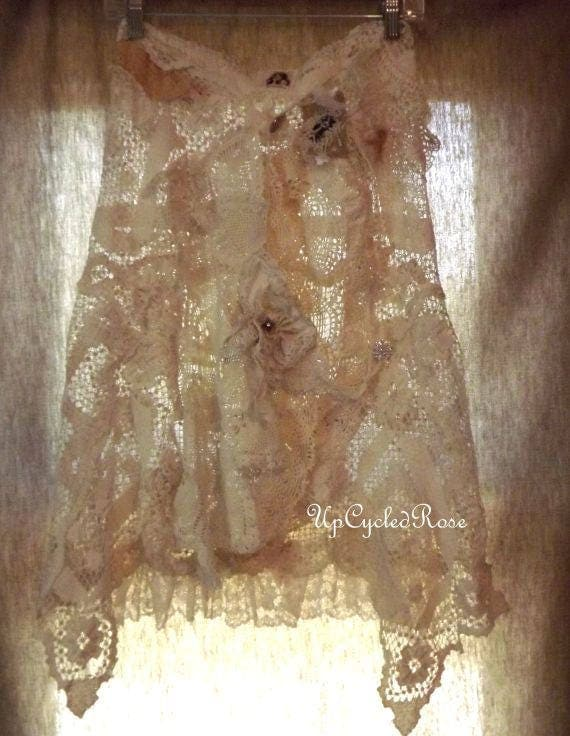 RESERVE LISTING      Hot Summer Breeze Vintage Lace Wrap Around Skirt Shabby Couture Art To Wear Ready to Ship
