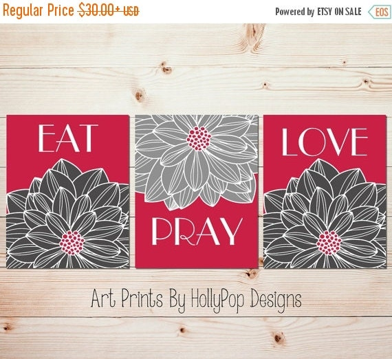 Modern Kitchen Wall Decor Eat Pray Love Trio By: Kitchen Wall Prints Modern Floral Decor Eat By HollyPopDesigns