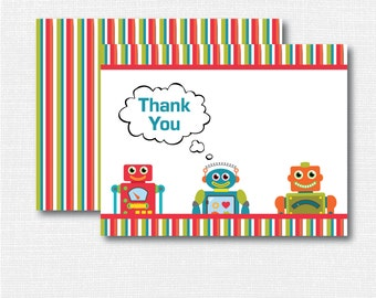 Robot Thank You Note - Boy Stationery - Robot Notecard - Folded Card - Thank You Note - INSTANT DOWNLOAD