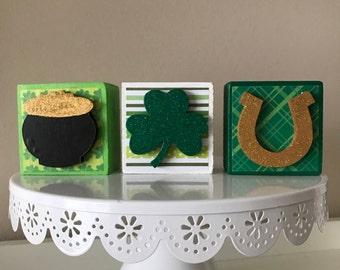 St. Patrick's Day Block Trio  // St. Patrick's Day Decor Decoration