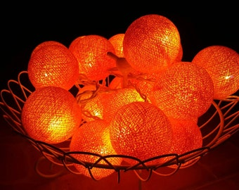 Orange Balls Chirtsmas Ball Lights for home decoration,wedding patio,indoor string lights,bedroom fairy lights,20 Bulbs