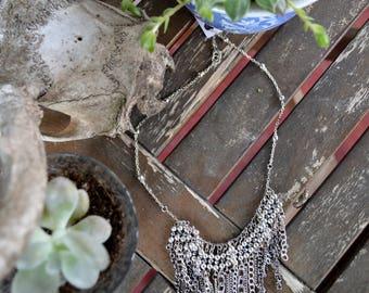 Silver Metalic Hand Beaded Fringe Bib Necklace