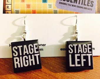 Theater Geek Stage Left Right Custom Scrabble Tile Earrings