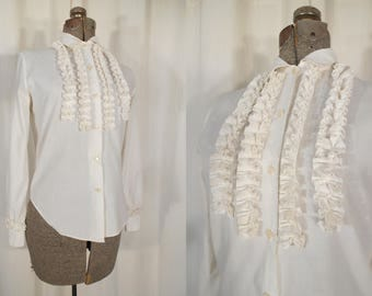 Vintage Victorian Blouse - 1970s Edwardian Blouse, White Ruffle Front Victorian Steampunk Blouse Small