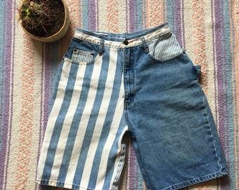 Vintage Early 90's Patchwork Urban Street Wear Denim Striped Shorts, Size 26