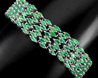 22ctw Brazilian Emerald Marquise Tennis Bracelet 7.50 inch