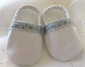 White Cotton Baby Baptism Christening Booties Crib Shoes