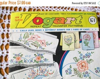 Vintage Vogart repeat transfer patterns - embroidery patterns - vintage embroidery patterns - Vogart patterns - craft supplies