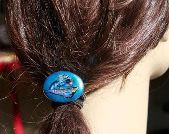 Hair accessory-FREE SHIPPING-textured dichroic glass-blue-Ponytail-elastic band- fused glass-ponytail holder-scrunchy