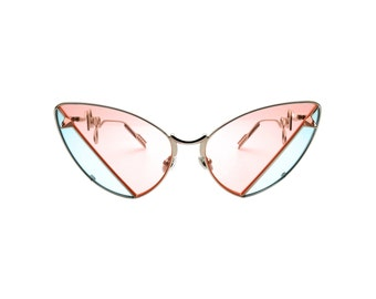 Colourful Retro Abstract Two Tones Sunglasses with Arrow Arm - PEBBLE