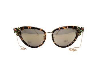 Women's Gold Cat-eye Swarovski and Spider Handmade Statement Sunglasses -  VITRAIL