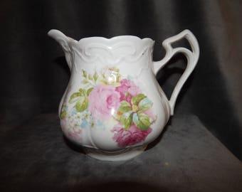 Vintage German Porcelain Rose Pattern Pitcher