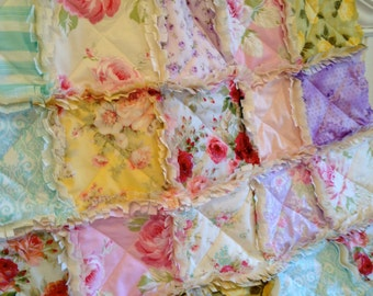 Crib Rag Quilt, Baby Girl, Blue Pink Purple Crib Bedding Baby Quilt Yellow Lavender Ivory Red Roses Baby Bedding Girl Shabby