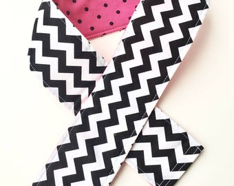 Padded Camera Strap Cover Neck Strap- REVERSIBLE- Padded- DSLR Black Chevron Hot Pink Polka Dots Photographer Thank You Gift, Photography