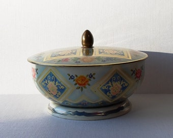 Vintage Belgium Biscuit/Cookie Collectibles Tin Covered Bowl