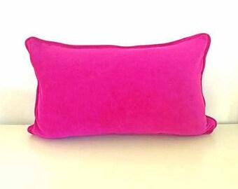 """Small Fuchsia Velvet Throw Pillow 18"""" by 10"""" , Fuchsia Velvet Cushion, Modern Home Decor"""