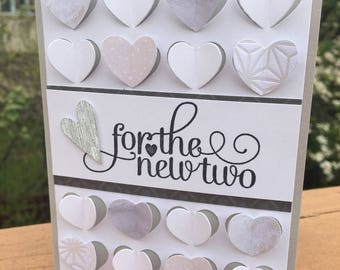 "Stampin Up ""For the New Two""  Wedding Designer Paper Fluttering Hearts Handmade Card Kit (4 cards)"