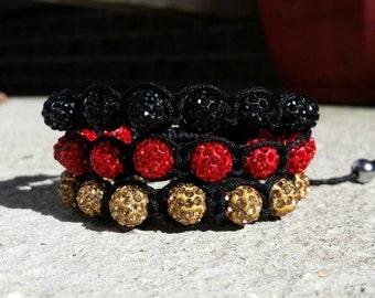 Shamballa macrame disco ball  pave bead bracelets
