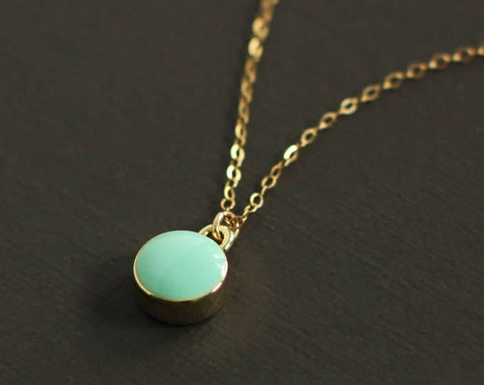 Mint Drop Necklace - 14K Gold Filled Chain