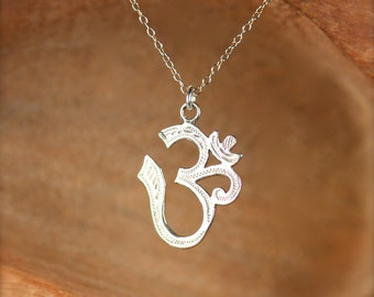 Sterling silver ohm necklace - ohm necklace - om - omkara - yoga necklace - pranava - a silver ohm on a sterling silver chain
