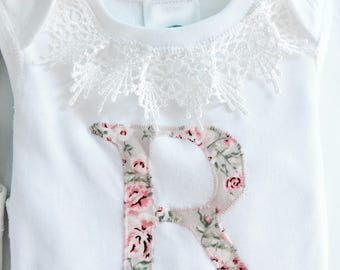 Customised applique Letter Initial Onesie shirt in blue or pink