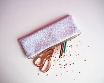 Iridescent Glitter Pencil Case, Iridescent Stationery, White Glitter Pencil Case, White Iridescent Zipped Case, Unicorn Pencil Case,