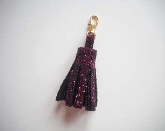 Deep Plum Glitter Tassel Keyring, Dark Pink Glitter Tassel Charm, Glitter Keyrings, Sparkly Deep Plum Tassel Keychain, Gold Lobster Clasp,
