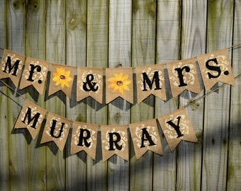 Burlap sunflower wedding Future Mrs Burlap Banner Customize your name Burlap sunflower banner