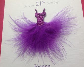 Personalised Handmade Birthday Card 16th 18th 21st 30th 40th 50th etc. Mum Sister Daughter Auntie Friend Anyone Feather Dress Many Colours