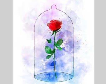 Enchanted Rose ART PRINT illustration, Beauty and the Beast, Disney, Wall Art, Home Decor