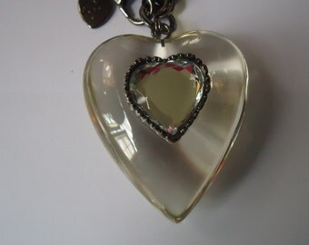Valentine Betsey Johnson Vintage HUGE Clear Lucite Heart Thick Pewter Chain Necklace.  RARE/RETIRED