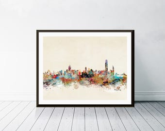 hong kong city skyline . hong kong cityscape. colorful watercolor skyline.Giclee art print.color your world with bri.