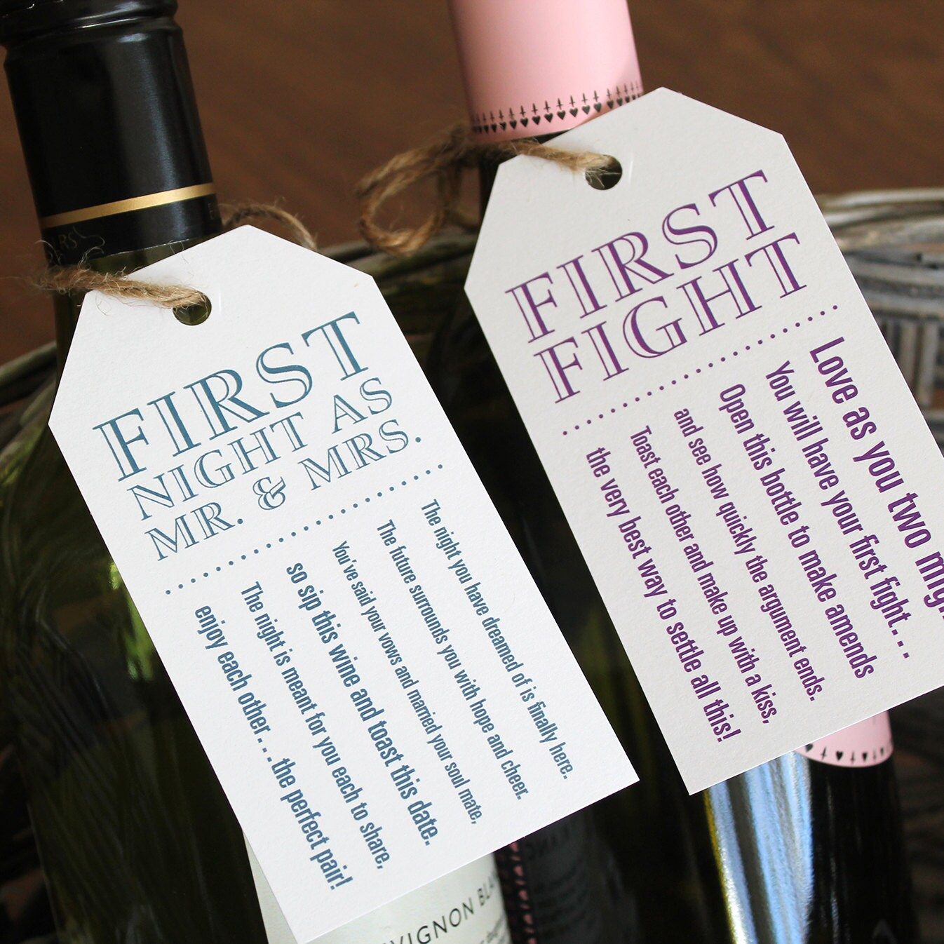 Marriage Milestone Wine Basket Tags — Bridal Shower Gift ...
