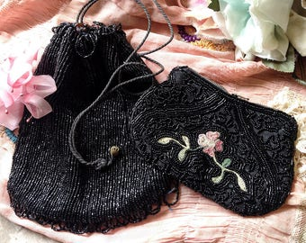 Vintage black beaded purses pair evening bags flapper coin purse pink flowers