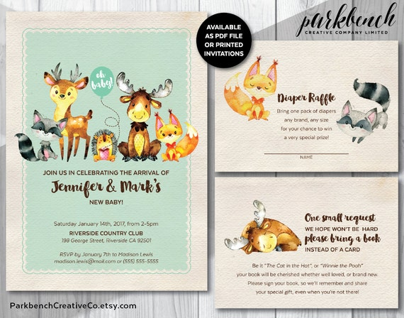 Baby Showers R Us Woodlawn ~ Items similar to woodland animal baby shower printable