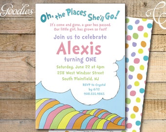 Dr. Seuss First Birthday Party Invitation / Oh the places she'll go