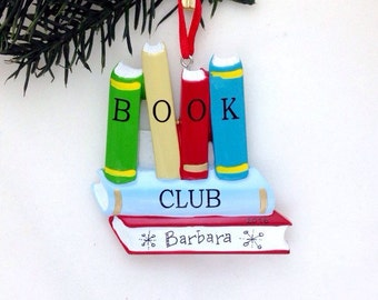 Book Club Personalized Christmas Ornament / Book Club Ornament / Gift for Reader / Personalized Name or Message