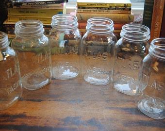 Vintage Mason/Canning Jars/Atlas Mason Jars/Glass Jars/Lot of 6/Quart Canning Jars/Food Jars/Food Storage