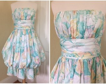 1980's Anthony Muto for Moroci Strapless Dress with Bubble Skirt- Pastel Flowers- 80's Prom