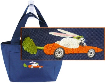 Bunny In Carrot Car Funny Rabbit Lunch Pail Thermal Cooler Custom Embroidered