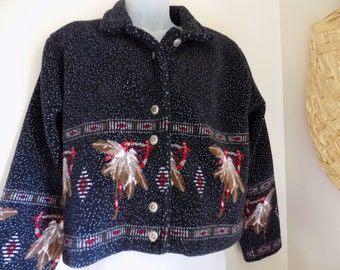 Sweet Vintage 80's Plush Native American Tribal Jacket by County Clothing Co Sz M